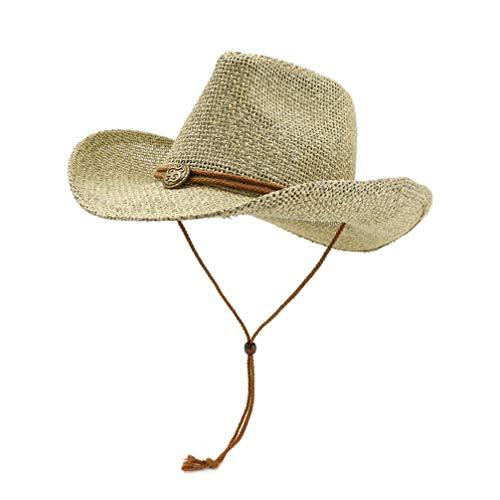LIOOBO Sombrero de paja para exterior, sombrero de paja de vaquero, sombrero de sol ancho con cordón de viento, transpirable, casual, sombrero de playa (caqui)
