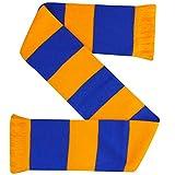Bufanda de bar de diseño tradicional amarillo y azul para aficionados al fútbol y rugby (100% acrílico)