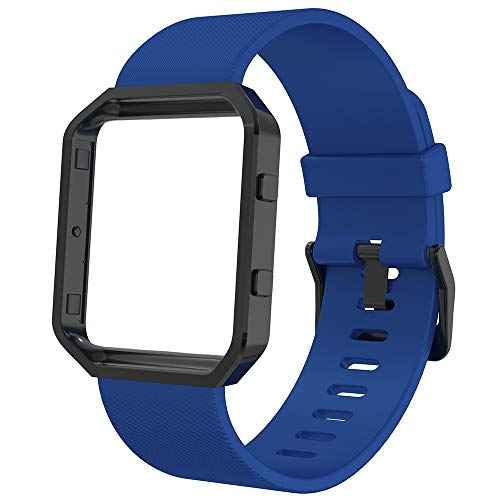 Anjoo Correa Compatible con Fit bit Blaze, Deporte de Repuesto Ajustable de Silicona Suave Correa Smart Fitness Watch con Marco de Metal, 5.5-6.7 Pulgada, Azul Profundo con Marco Negro