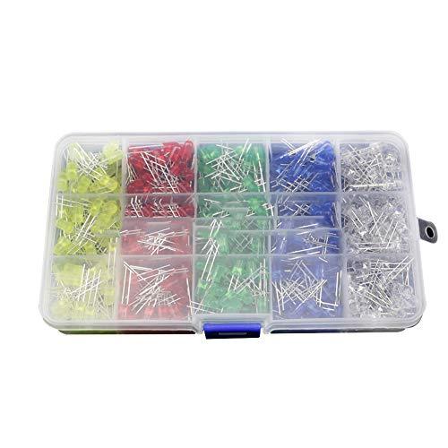 DaoRier 500pcs 5mm LED Dioden Leuchtdioden Elektronik Komponenten 5 Farben Licht (Weiß, Rot, Blau, Grün, Gelb)