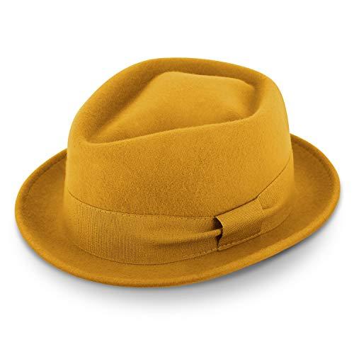 fiebig Medlock Pork Pie Diamante   100% Sombrero de fieltro con cinta de grosgrain   Cómodo sombrero ligero hecho en Italia (60-XL, Amarillo)