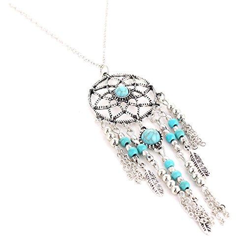 Kette Traumfänger lang - Dream Catcher - Silber mit Türkis-Perlen/Halskette - Yoga Esoterik Spiritualität Astrologie Energie