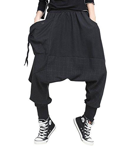ELLAZHU Women Fashion Elastic Waist Baggy Drop Croych Black Casual Harem Pants GY1529