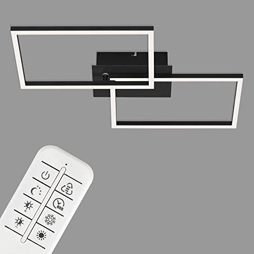 Briloner Leuchten - Lampada da soffitto a LED, plafoniera dimmerabile, incl. telecomando, incl. regolazione della temperatura di colore, incl. funzione luce notturna e timer, nero, 500x388x78mm