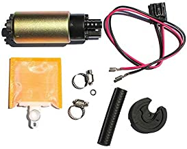 MUCO New High Performance Electric Intank Fuel Pump w/With Strainer/Filter + Rubber Gasket/Hose + Stainless Steel Clamps + Universal Connector Wiring Harness E8213