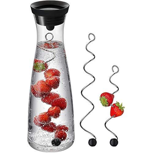 WMF Basic Wasserkaraffe Set 3-teilig, Karaffe 1l mit 2 Fruchtspieße (18 und 24 cm), Glas, Höhe 30,2 cm, Glaskaraffe mit Deckel, Silikondeckel, CloseUp-Verschluss, blau