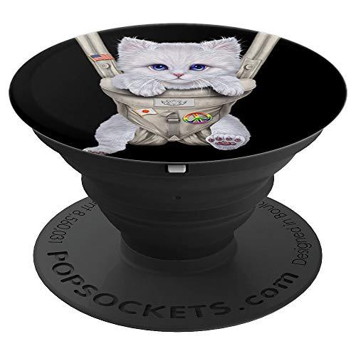 Gato blanco en portabebé PopSockets Agarre y Soporte para Teléfonos y Tabletas