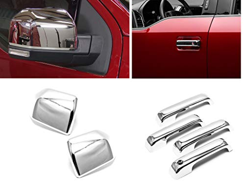 eLoveQ Chrome Plated Top Half Non-Towing Mirror Overlay+Handle Covers No Smart Key Compatible with 2015-2020 Ford F-150