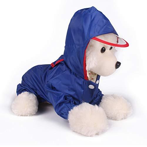 JIUI Hond Kostuum Mode eenvoudige poncho vier voet lente en zomer waterdichte kleding, L, Blauw