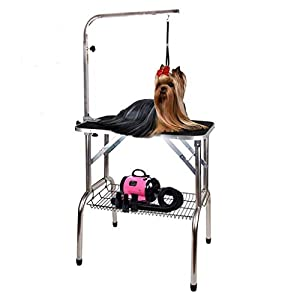 """Polar Aurora Pingkay 30"""" Black Heavy Duty Pet Professional Dog Show Stainless Steel Foldable Grooming Table w/Adjustable Arm & Noose & Mesh Tray"""