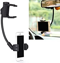 Rear View Mirror Car Mount Holder Swivel Cradle for Samsung Galaxy J3 J7 S8 S9 +, Note 8 9 - iPhone X XR XS 6S 7 8 Plus - Google Pixel 2 3 XL - LG G6 G7 ThinQ V35 V40 - ZTE - Moto Z - All Smartphones
