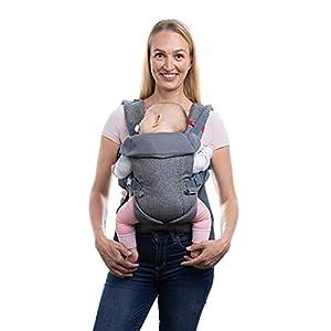 You+Me Portabebés convertible 4 en 1 con malla de aire fresco 3D – gris jaspeado – Llévalo con un recién nacido tan pequeño como 7 libras y bebés hasta niños pequeños de 35 libras.