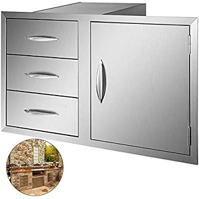 Mophorn Outdoor Kitchen Door Drawer Combo 38 Inch Stainless Steel Access Door/Triple Drawer Combo for Outdoor BBQ Island & Kitchen