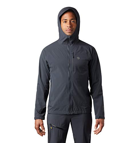 Mountain Hardwear Men's Stretch Ozonic Jacket Waterproof Breathable for Hiking, Backpacking, and Everyday - Dark Storm - Medium