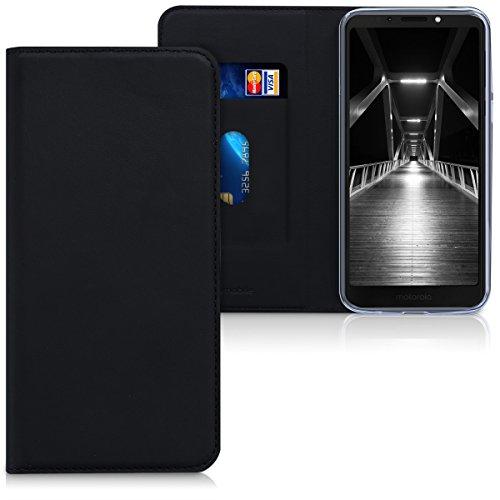 kwmobile Hülle kompatibel mit Motorola Moto G6 Play - Kunstleder Handy Schutzhülle - Flip Cover Hülle Schwarz