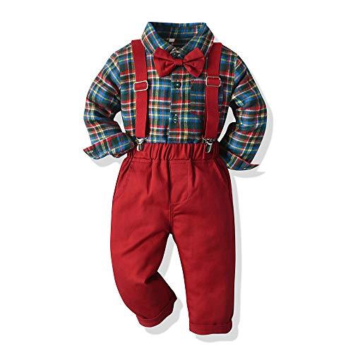 Tem Doger Roupa de verão para meninos pequenos camisa gravata borboleta colete calça suspensório shorts conjunto cavalheiro roupas 6 meses.-6T, Red-a, 18-24 Months