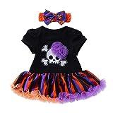 Baby Girls Halloween Clothes,Leegor Newborn Short Sleeve Cartoon Skull Party Dress Clothes Black