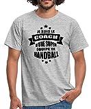 Spreadshirt Je suis Le Coach d'une Super Équipe De Handball T-Shirt Homme, XL, Gris chiné