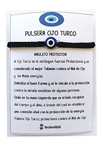 SabelAX Ojo Turco Pulsera, Hilo Rojo, Amuleto Proteccion Mal de Ojo y Buena Suerte, Unisex Mujer y Hombre, Pulsera Amistad Ajustable, Kabbalah, Pulsera Hilo Negro
