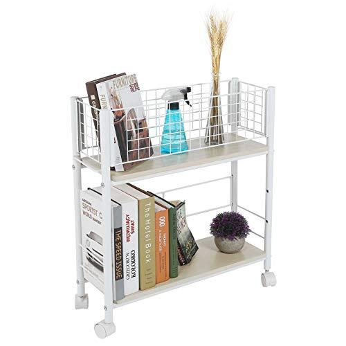 Dioche - Carro de almacenamiento práctico con valla de metal en el lateral, carrito de cocina con soporte de almacenamiento multifuncional, soporta aproximadamente 30 kg