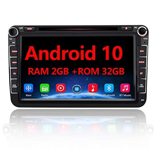 AWESAFE Android 10 Autoradio für VW Skoda Seat, 2 DIN 8 Zoll Touchscreen DAB+ unterstützung WLAN DVD USB RDS Bluetooth MirrorLink