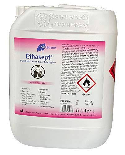 Meditrade Ethasept Desinfektionsmittel 5 Liter für Hand Hände, Flächen und Haut Hygiene, Schnelldesinfektion, Ethanol 73,5%, Empfohlen vom RKI