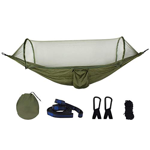 HULDORO Nylon Hammock Ourdoor Bivouacking Travel Hanging Bed With Mosquito Net travel hammock (Color : ArmyGreen)