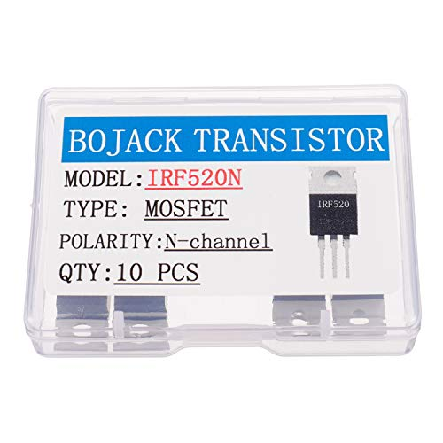 BOJACK IRF520 MOSFET Transistores IRF520N 9.7 A 100 V canal N Potencia MOSFET TO-220AB (Paquete de 10 piezas)
