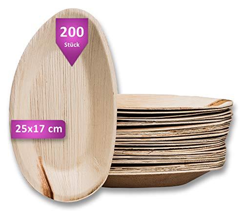 Waipur Bio Palmblattteller - 200 Teller Oval 25 cm - Premium Einweggeschirr kompostierbar - Umweltfreundliches Partygeschirr - Palmblatt Geschirr