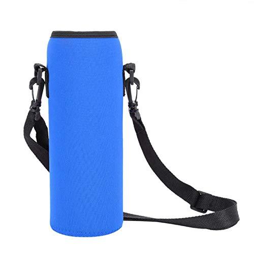 FOLOSAFENAR Botella de Agua de 1000 ml Material de Neopreno de Aislamiento térmico Bolsa de Aluminio de una Sola Capa con Correa para Exteriores(Azul)