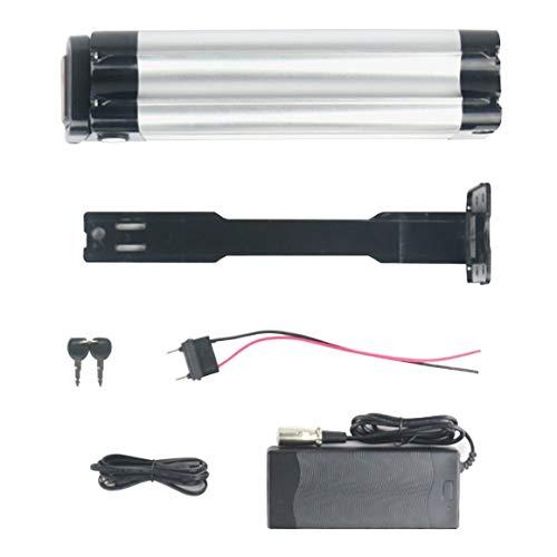 Monrodbitt 36V 10Ah Batería de Litio de Repuesto de Alta compatibilidad para Bicicletas eléctricas Bicicletas eléctricas Bicicletas de montaña (Negro Plata)