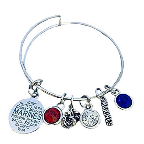 Infinity Collection Mom US Marine Corps Mom Bangle Bracelet, Proud Marine Mom Charm Bracelet - Makes Perfect Mom Gifts