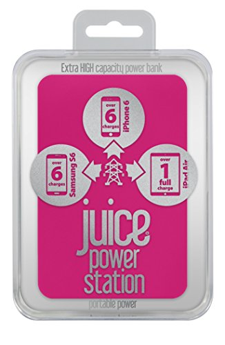 Juice Power Station Extra High Capacity Portable Power Bank, iPhone, Samsung, Huawei, iPad, 11200 mAh - Pink