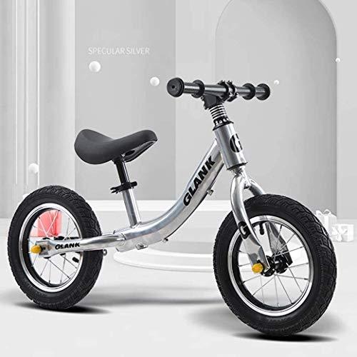 LAMTON Gleichgewicht Bike Scooter 2-6 Jahre alt Kinder Kinder - höhenverstellbarem Sitz - Baby Walker luftgefüllten Gummireifen for Kleinkinder - kein Pedal-Roller-Fahrrad, Silber, Ordinary Modelle