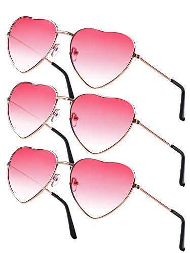 Tupa 3 Paar herzförmige Hippie-Specs-Sonnenbrillen mit rosafarbenen Gläsern in Rotgold Rahmen für Cosplay 60er Jahre Party (Pink)