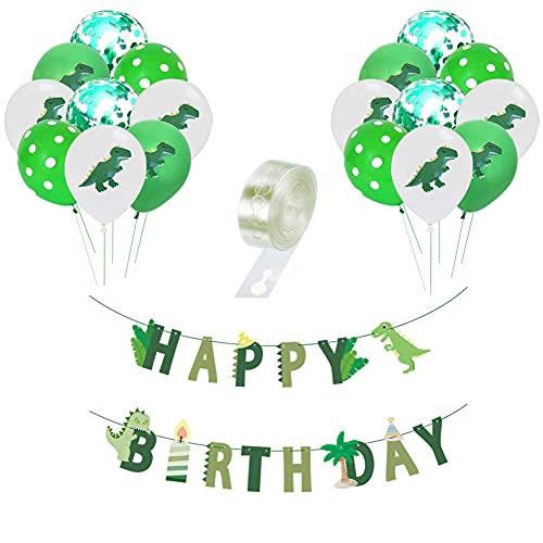 Yuccer 32 PCS Dinosaurier Party Deko, 30 PCS Dinosaurier Luftballons mit 1PCS Happy Birthday Girlande und 1PCS Luftballon Halter Kindergeburtstag Deko