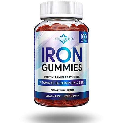 Iron Gummies for Adults & Kids - Iron Supplements with Vitamin C, A, Vitamins B Complex & Zinc - Chewable Grape Flavored Multivitamin Alternative to Iron Pills, Capsules,Tablets - Gluten-Free, Non-GMO