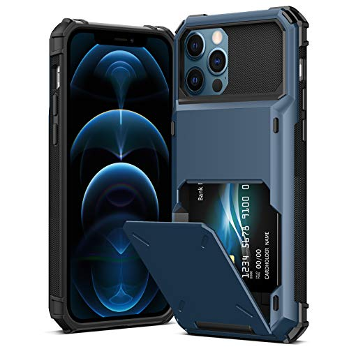 """TITACUTE Compatible with iPhone 12 Pro Case Wallet Case Card Slot Cash Pouch Dual Layer Slim Hybrid Phone Cover Shockproof Armor Cases Back Flip Case Replacement for iPhone 12 Pro 6.1"""" 2020 Navy Blue"""