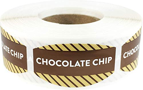 Chocolate Chip Grocery Store Food Labels .75 x 1.375 Inch Oval Shape 500 Total Adhesive Stickers