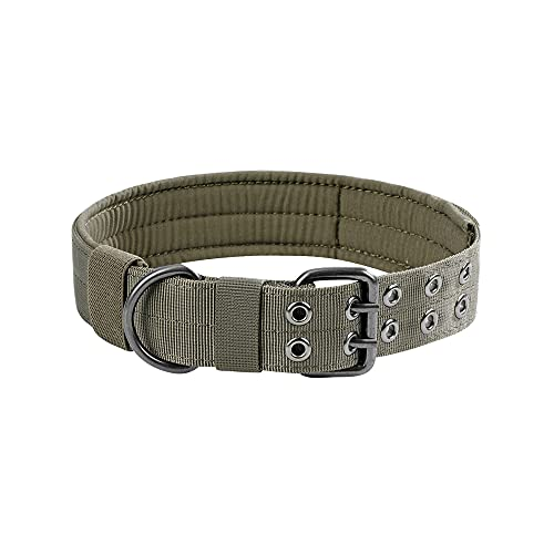 EXCELLENT ELITE SPANKER Collare per Cane Militare Regolabile da 1,5'con Anello a D Regolabile in Metallo e Fibbia per Cani di Taglia Media(Verde Fumo-L)