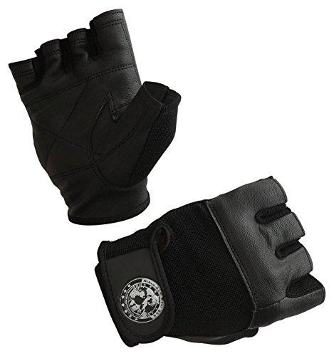 Nibra Gym Wear USA Gym Gloves Black with Wrist Closure for Man & Women, Padded Workout Crossfit, Weightlifting,Biking. (Black, Medium)