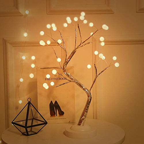 Tabletop RGB Color Changing Bonsai Tree Light,36L LED Fairy Tree Lamp Timer DIY Branches Remote Control Artificial Trees USB Battery Operated,Home Decoration & Gift Wedding Festival Holiday (Pearl)