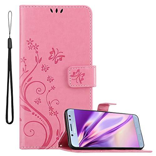 Cadorabo Funda Libro para Samsung Galaxy J5 2017 en Rosa Floral – Cubierta Proteccíon en Diseño de Flor con Cierre Magnético, Función de Suporte e 3 Tarjeteros - Etui Case Cover Carcasa