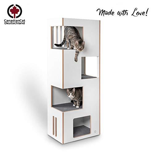 CanadianCat Company ® | Cat Castle L 2.0 | das Neue Kratzmöbel | Natur-weiß mit grauem Filz | der andere Kratzbaum !