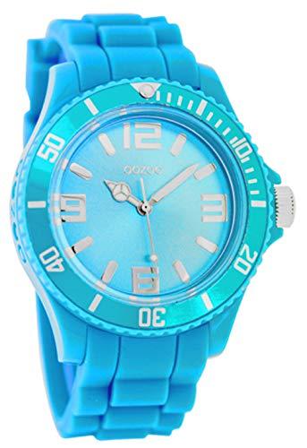Oozoo Damenuhr mit Silikonarmband Silberfarbene arabische Zahlen und Indexe 43 MM Neon Blau C4660