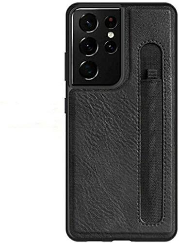 Custodia compatibile con supporto per slot per penna per Galaxy S21 Ultra S, elegante e sottile custodia protettiva antiurto in pelle PU per Samsung Galaxy S21 Ultra [non includere penna] (Nero)