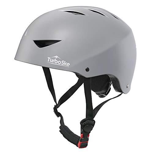 TurboSke Skateboard Helmet, ASTM & CPSC Certified Bike Helmet BMX Helmet Multi-Sport Helmet for Youth Men and Women (L/XL, Matte Gray)