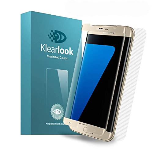Klearlook Clear Glass Screen Protector for Galaxy S7 Edge, 1-(Case-Friendly) 3D Curve Fit HD Tempered Glass Screen Cover +1-Carbon Fibre Back Sticker Skin for 5.5' Galaxy S7 Edge (Gold Frame)