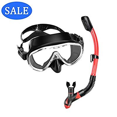 Scuba Diving Mask Snorkel Set - Tempered Glass One Window Lens Panoramic view Anti-Fog, Anti-Splash Protection Diving Mask & Purg Valve Dry Top Snorkel for Adults, Freediving, Swimming, Snorkeling