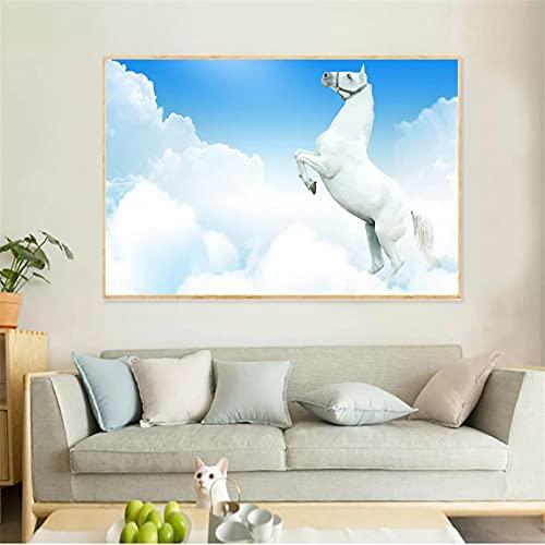 wall art Pinturas abstractas cuadros de lienzo de carreras de caballos de nieve para sala de estar arte de pared decoración del hogar decoración escandinava habitación Decoración de la 50x70cm